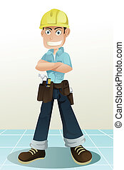 Handyman - A vector illustration of a handyman with his...