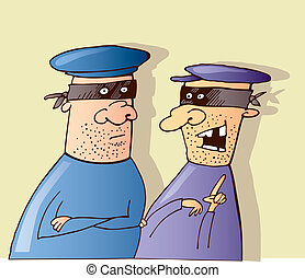 Two thieves talking - Cartoon illustration of two thieves...