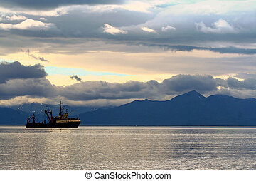 Kamchatka - A ship in the bay of Kamchatka