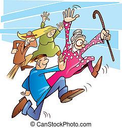 Big sale - Illustration of people running after big sale
