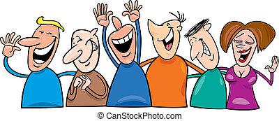 grupp, skratta, folk