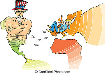 USA and European Union - Metaphor Illustration of USA and...