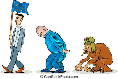 Eastern european evolution - Humorous illustration of...