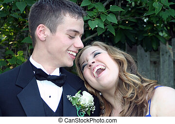 Sharing A Laugh Prom Couple - Outdoor portrait of a prom...
