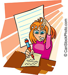 Girl and difficult test - Cartoon illustration of teenage...