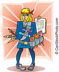 Girl student ready to exam - Cartoon illustration of blonde...