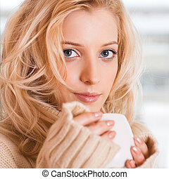 girl with cup - beauty girl with cup in her hand