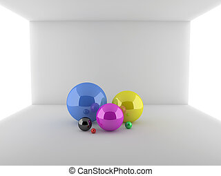 Abstract 3d illustration of spheres in a room