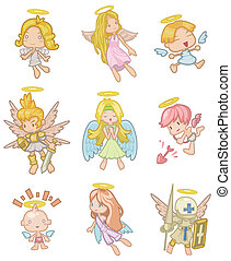 dessin animé, ange, icône