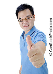 asian man thumbs up