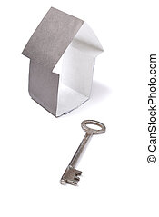 Paper house with key
