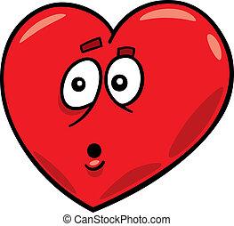 startled heart - cartoon illustration of startled heart