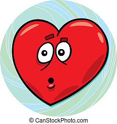 startled heart - cartoon illustration of startled heart