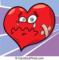 broken heart - cartoon illustration of broken heart