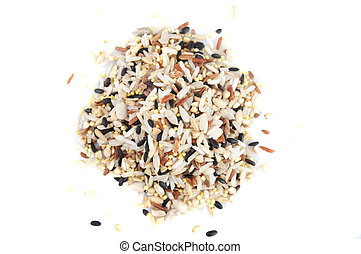 Raw grains background, mixed with 12 different grains