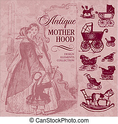 antique motherhood set (vector) - set of antique motherhood...