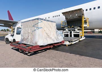 Loading cargo plane - Loading platform of air freight to the...