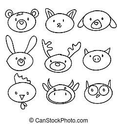 cartoon animal head doodle, illustration