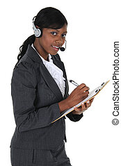 Attractive Business Woman with Headset 02 - A attractive...