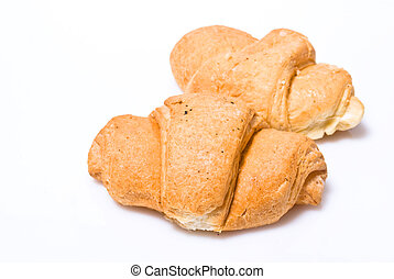 Two fresh croissant isolated over white background