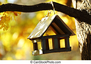 birdhouse in the autumn forest close up
