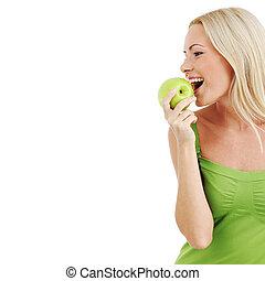 mulher, comer, verde, maçã
