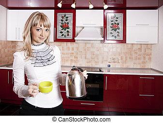 jovem, mulher, cozinha, red-white, cor