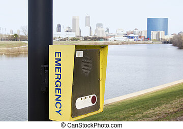 Emergency call box - seen in Indianapolis, Indiana.