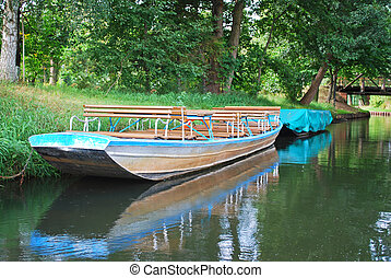 spreewald boat - historic boat in a canal in the spreewald...