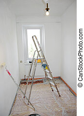 home improvement ladder and paint and brush