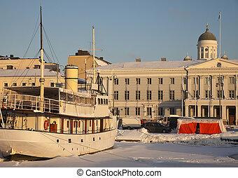 Ship in downtown Helsinki