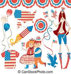 USA set - Retro National American symbolics