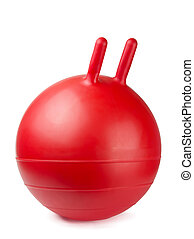 Gym ball - Red jumping gym ball with handles isolated on...