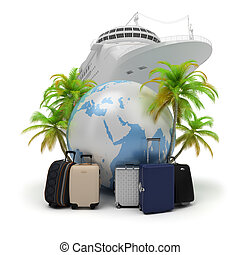 travel - The globe surrounded with suitcases and palm trees...