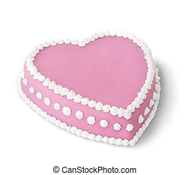 Pink decorated cake - Pink heart shape marzipan cake...