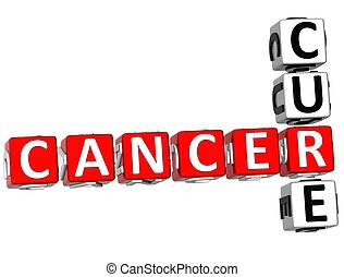 Cancer Cure Crossword - 3D Cancer Cure Crossword on white...