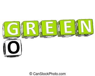 Go Green Crossword - 3D Go Green Crossword on white...