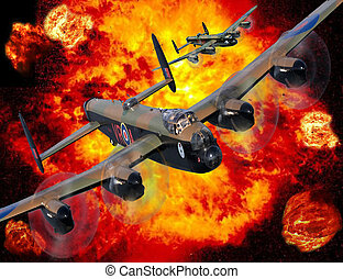 Lancaster bomber bombing run with explosion behind.
