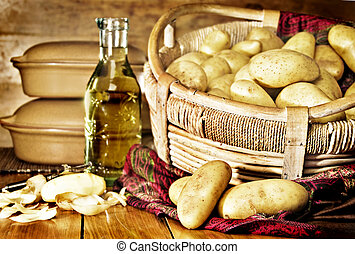 Still life of potatoes in a basket