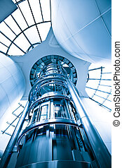 elevator - futuristic elevator in the modern building at...