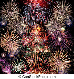 Fireworks - Beautiful fireworks background for new year and...