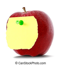red apple with blank note paper