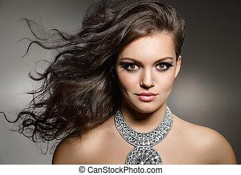gorgeous brunette - studio portrait of young gorgeous...