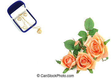 Love gift - Jewelry set with a heart shape and roses, on...