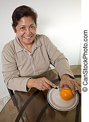 Relaxed senior asian woman
