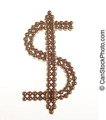 Simbol of dollar of the shiny metallic balls