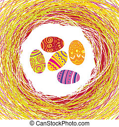 Easter Eggs in the colorful nest. Editable by layers,...
