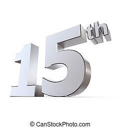 Shiny 15th - Silver/Chrome - shiny 3d number 15th made of...