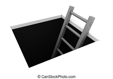 Climb out of the Hole - Grey Ladder - a rectangle hole in...