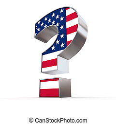 United States Question Mark - metallic question mark with...